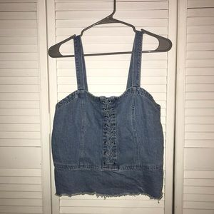 American Eagle Denim Lace Up Tank Top